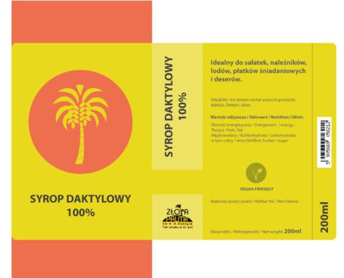 projekt etykiety na butelkę z syropem daktylowym