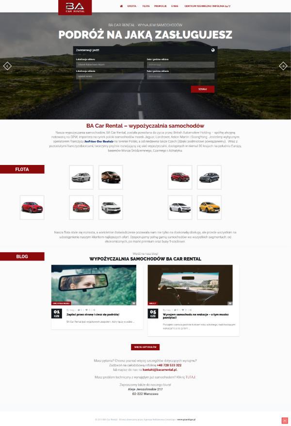 BA Car Rental projekt strony internetowej