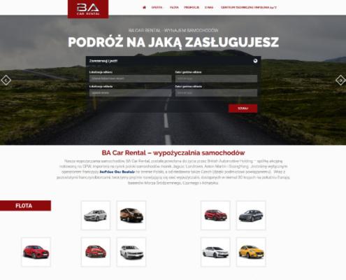 witryna internetowa - wynajem samochodów